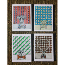 Pack of 4 'Bow Tie' Greetings cards